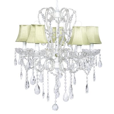 Carousel 5-Light Shaded Chandelier Shade: Green, Finish: White