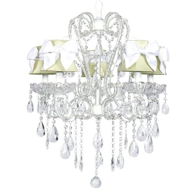 Carousel 5-Light Shaded Chandelier Shade: Green with White Bow, Finish: White