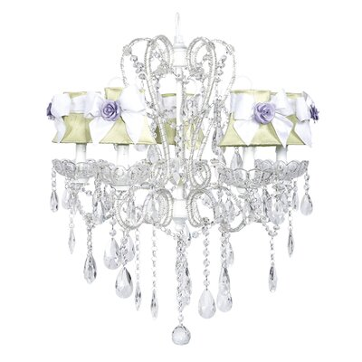 Carousel 5-Light Shaded Chandelier Shade: Green with White Bows and Lavender Magnet, Finish: White