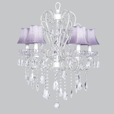 Carousel 5-Light Shaded Chandelier Shade: Lavender, Finish: White