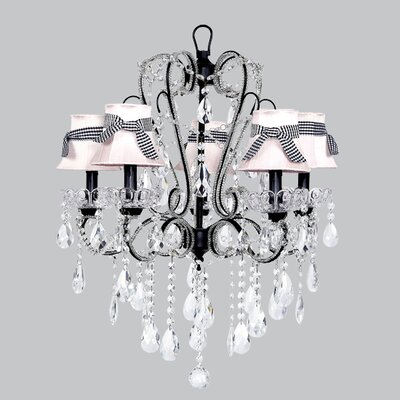 Carousel 5-Light Shaded Chandelier Shade: Pink with Black Check Sash, Finish: Black
