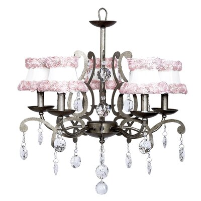 Elegance 5-Light Shaded Chandelier Shade: White with Pink Flowers