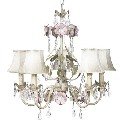 Flower Garden 5-Light Shaded Chandelier Finish: Ivory , Sage, and Pink, Shade: White with Ring of Roses