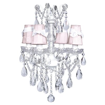 Center 4-Light Shaded Chandelier Shade: Pink with White Sash
