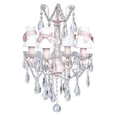 Center 4-Light Shaded Chandelier Shade: White with Pink and Green Flowers