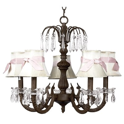 Water Fall 5-Light Shaded Chandelier Finish: Mocha, Shade: Ivory with Sash