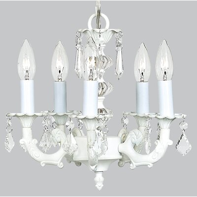 Stacked Ball 5-Light Shaded Chandelier Shade Color: White