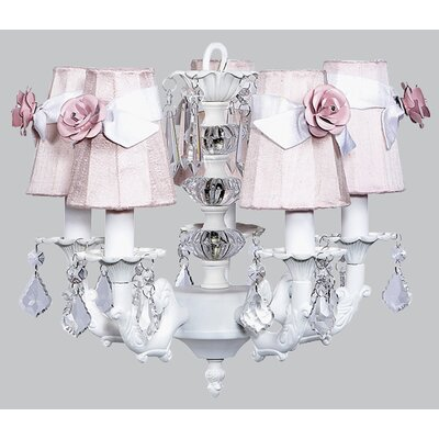 Stacked Ball 5-Light Shaded Chandelier Shade Color: Pink with White Sash