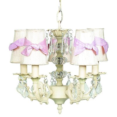 Stacked Ball 3-Light Shaded Chandelier Shade Color: Ivory with Pink Sash