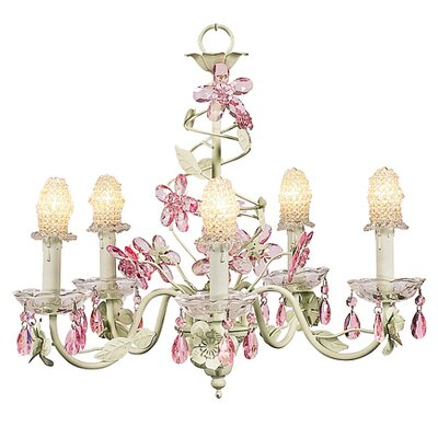 Flower 5-Light Shaded Chandelier Finish: Soft Green and Pink, Shade: Clear Bulb Cover