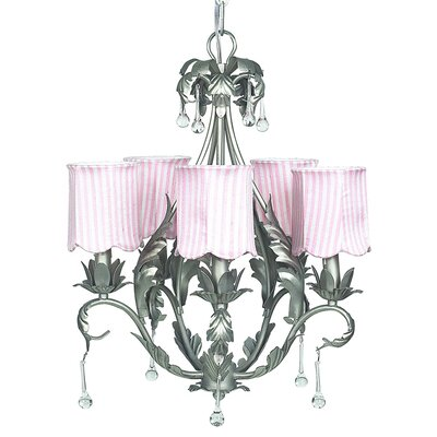 Caesar 5-Light Shaded Chandelier Shade: Pink Striped Scallop
