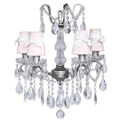 Center 4-Light Shaded Chandelier Shade: White with Pink Flowers