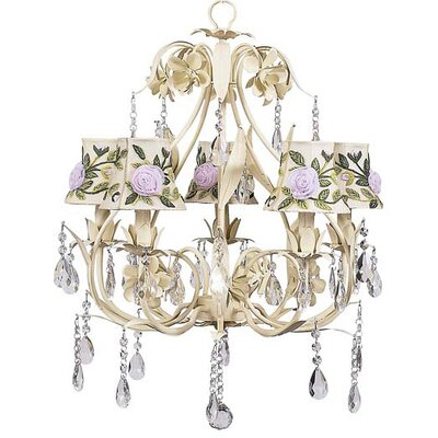 Ballroom 5-Light Shaded Chandelier Shade: Rose Net Flower Ivory