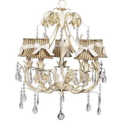 Ballroom 5-Light Shaded Chandelier Shade: Taupe Check with Pink Ivory Sash