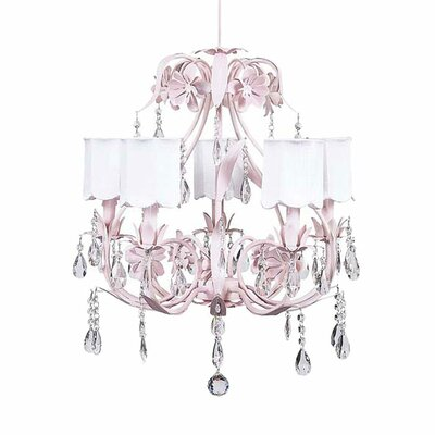 Ballroom 5-Light Shaded Chandelier Shade: Scallop Drum White
