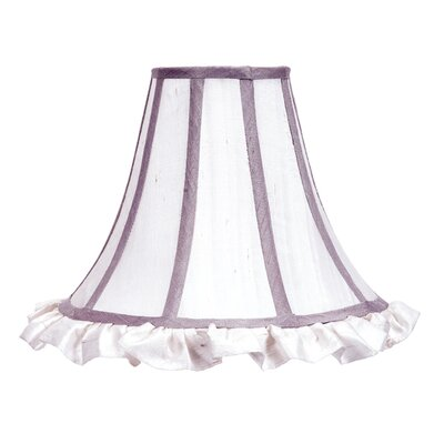 12 Silk Bell Lamp Shade Color: White with Lavender Trim