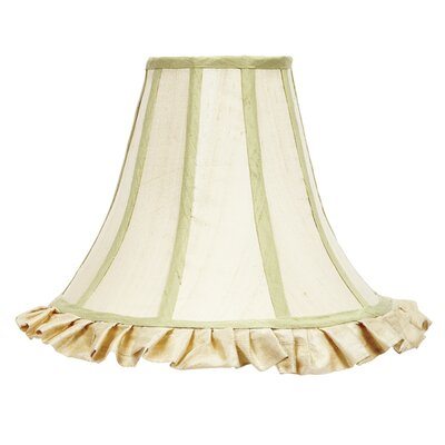 12 Silk Bell Lamp Shade Color: Ivory with Sage Green Trim