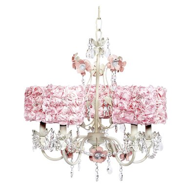 Flower Garden 5-Light Shaded Chandelier Finish: Pink and White, Shade: Pink Rose