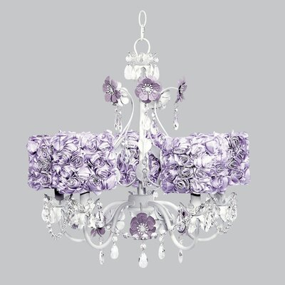 Flower Garden 5-Light Shaded Chandelier Finish: Lavender and White, Shade: Lavender Rose