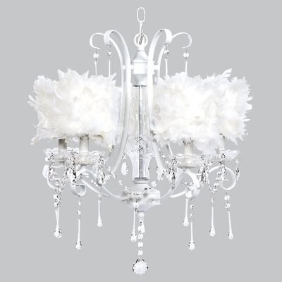 Colleen 5-Light Crystal Chandelier Shade Color: White