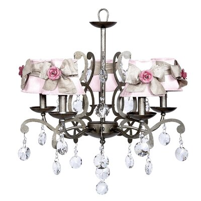 Elegance 5-Light Shaded Chandelier Shade: Pink with White Sash and Pink Flowers