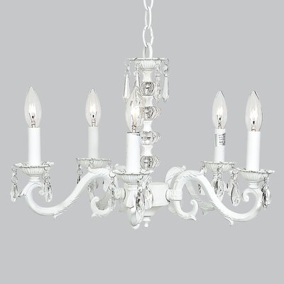 Turret 5-Light Crystal Chandelier Finish: White