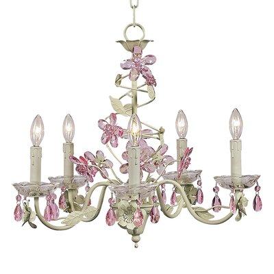 Flower 5-Light Crystal Chandelier Finish: Soft Green/Pink