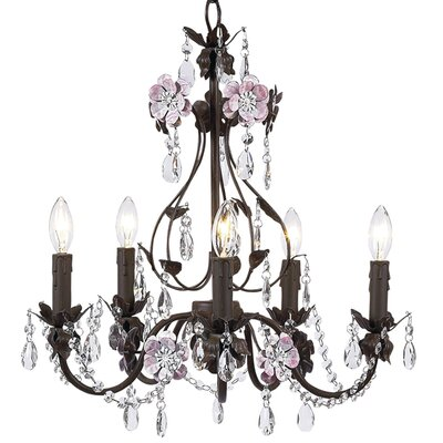 Flower Garden 5-Light Crystal Chandelier Finish: Pink/Mocha