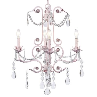 Valentino 4-Light Crystal Chandelier Finish: Pink