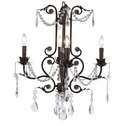 Valentino 4-Light Crystal Chandelier Finish: Mocha