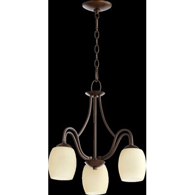 Mcguire 3-Light Candle-Style Chandelier Finish: Oiled Bronze, Shade Color: Cream
