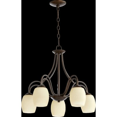 Willingham 5-Light Shaded Chandelier Finish: Oiled Bronze, Shade Color: Cream