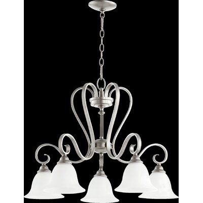 Celesta 5-Light Shaded Chandelier Finish: Classic Nickel, Shade Color: Cream