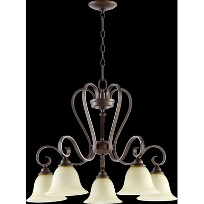 Celesta 5-Light Shaded Chandelier Finish: Oiled Bronze, Shade Color: Cream