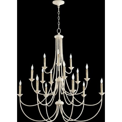 Brooks 15-Light Candle-Style Chandelier Finish: Persian White
