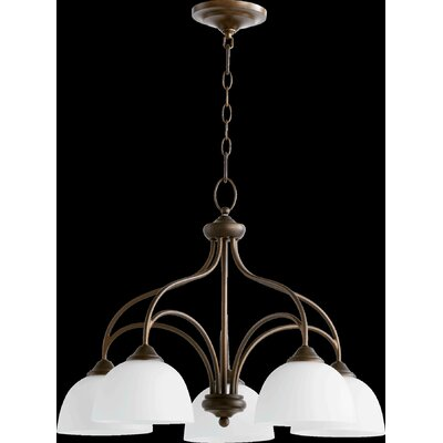 Hewlett 5-Light Shaded Chandelier in Oiled Bronze