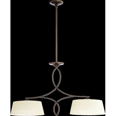 Willingham 2-Light Kitchen Island Pendant Finish: Oiled Bronze, Shade Color: Cream
