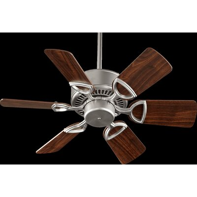 30 Estate 6-Blade Ceiling Fan Finish: Satin Nickel with Walnut Blades