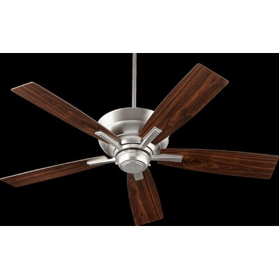 52 Caffee 5-Blade Ceiling Fan Finish: Satin Nickel with Walnut Blades