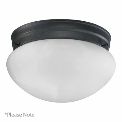 60W Flush Mount Finish: Old World, Size: 4.5 H x 7 W x 7 D