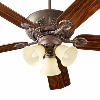 60 Chateaux 5-Blade Ceiling Fan Shade Finish: Amber Scavo, Finish: Toasted Sienna