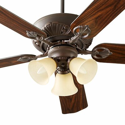 60 Chateaux 5-Blade Ceiling Fan Shade Finish: Amber Scavo, Finish: Oiled Bronze