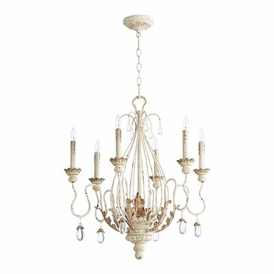 Venice 6-Light Candle-Style Chandelier Finish: Persian White
