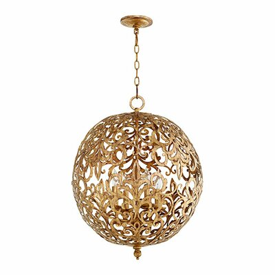 Le Monde 4-Light Globe Pendant Finish: Vintage Gold Leaf