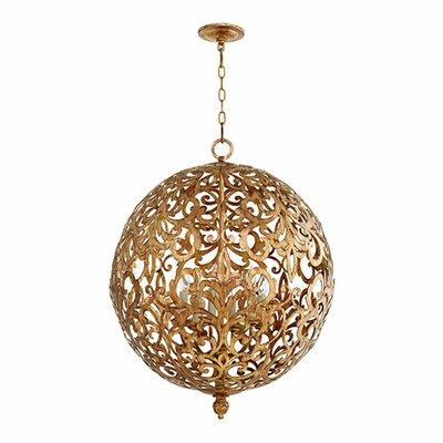 Le Monde 6-Light Globe Pendant Finish: Vintage Gold Leaf