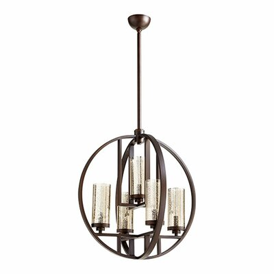 Julian 5-Light Globe Pendant Finish: Oiled Bronze, Shade Color: Mercury