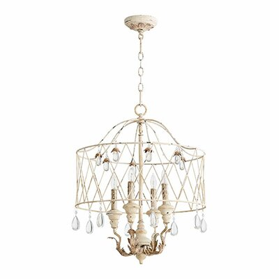 Venice 4-Light Drum Pendant Finish: Persian White
