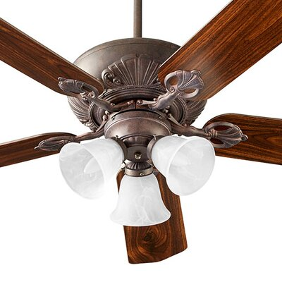 52 Chateaux 5-Blade Ceiling Fan Shade Finish: Faux Alabaster, Finish: Toasted Sienna