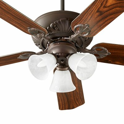 52 Chateaux 5-Blade Ceiling Fan Shade Finish: Faux Alabaster, Finish: Oiled Bronze