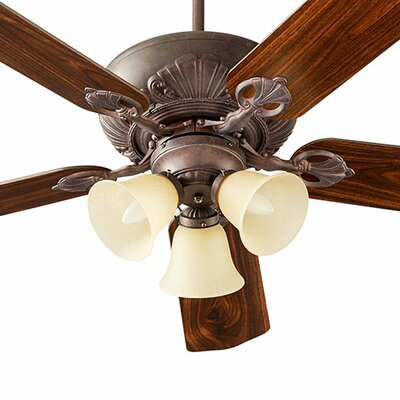 52 Chateaux 5-Blade Ceiling Fan Finish: Toasted Sienna, Shade Finish: Amber Scavo